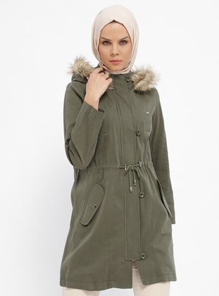 Khaki - Fully Lined - Polo neck - Cotton - Coat