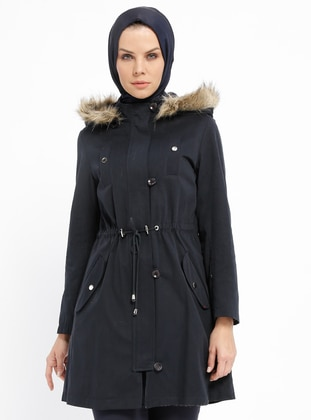 Navy Blue - Fully Lined - Polo neck - Cotton - Coat