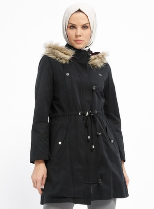 Black - Fully Lined - Polo neck - Cotton - Coat