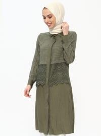 Khaki - Stripe - Round Collar - Tunic
