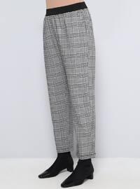 Black - White - Plaid - Plus Size Pants
