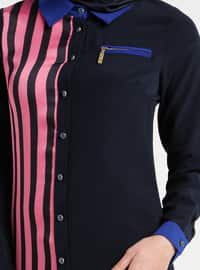 Pink - Saxe - Stripe - Point Collar - Tunic