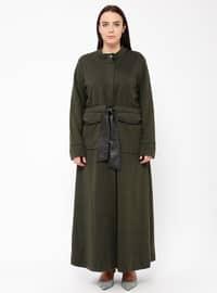 Khaki - Polo neck - Dresses