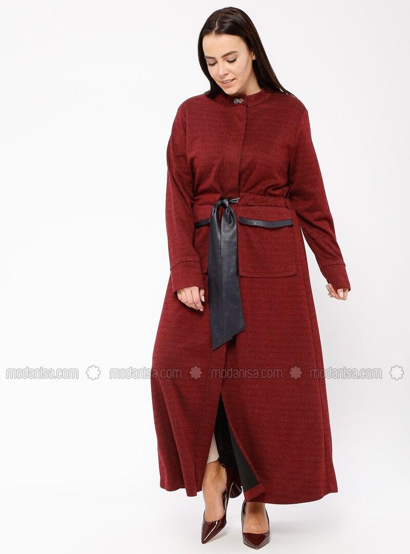 Maroon - Polo neck - Dresses