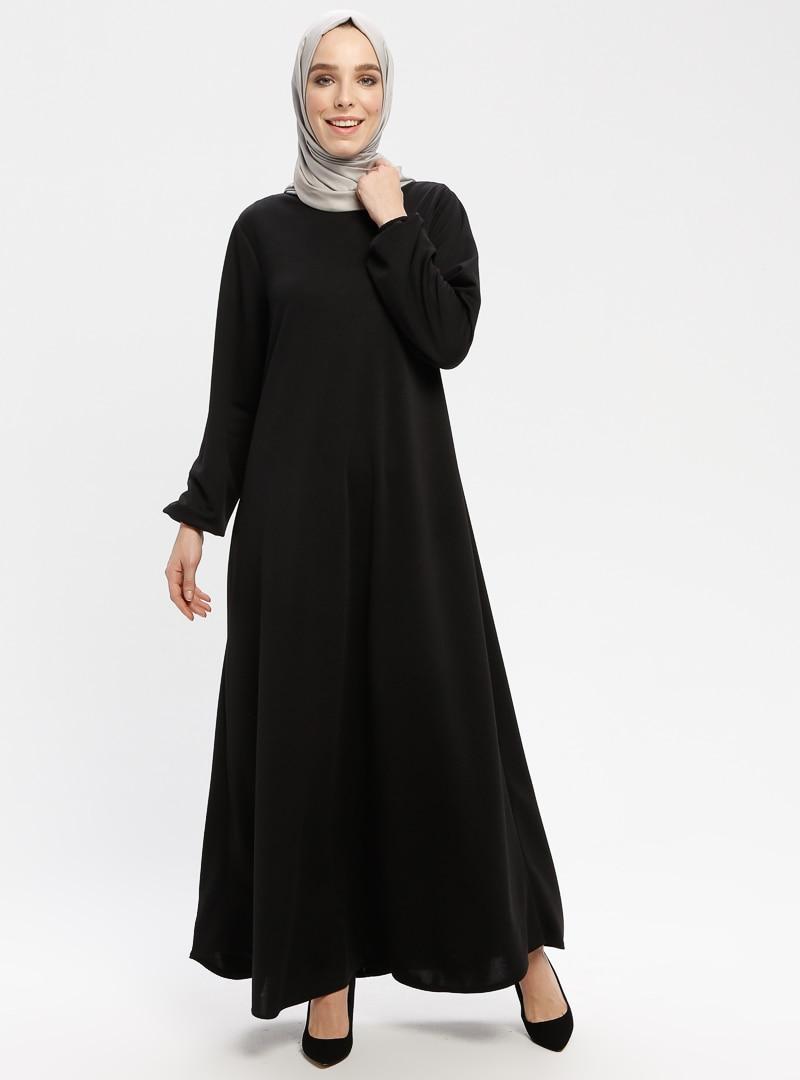 Tesettür Elbise ECESUN Siyah Kadın 46