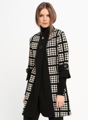 Black - Cream - Checkered - Unlined - Wool Blend - Jacket