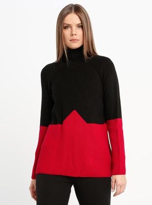 Red - Black - Crew neck - Acrylic -  - Jumper