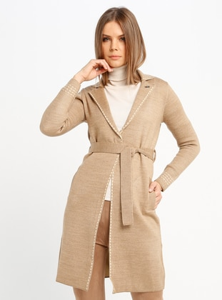 Beige - Cream - Unlined - Shawl Collar - Acrylic -  - Jacket