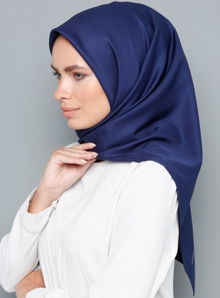 Navy Blue - Plain - Rayon - Scarf