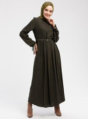 Khaki - Crew neck - Unlined - Wool Blend - Dresses