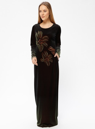 Olive Green - Unlined - Crew neck - Muslim Evening Dress