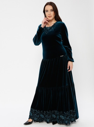 Petrol - Unlined - Crew neck - Muslim Plus Size Evening Dress