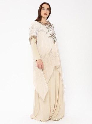 Beige - Muslim Plus Size Evening Dress