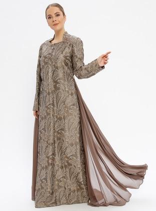 Green - Multi - Fully Lined - Sweatheart Neckline - Muslim Evening Dress
