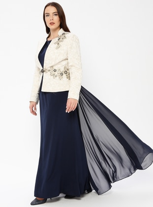 04114fa20e9ce Navy Blue - Unlined - Crew neck - Muslim Evening Dress