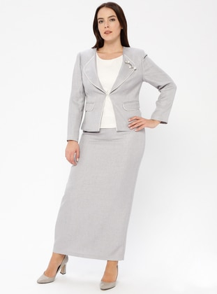 Gray - Shawl Collar - Fully Lined - Plus Size Evening Suit