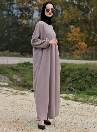 Cream - Unlined - Crew neck - Abaya