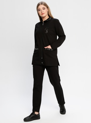 Black - Point Collar - Tracksuit Set