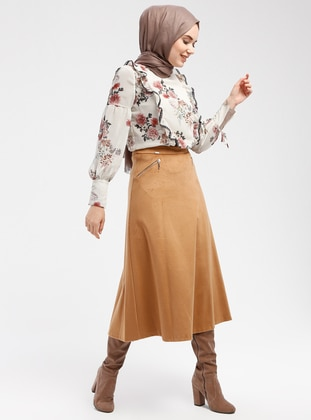 Camel - Fully Lined - Skirt