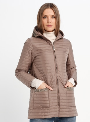 Beige - Fully Lined - Puffer Jackets