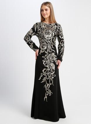 a44756a87b Black - Fully Lined - Crew neck - Muslim Evening Dress
