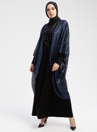 Black - Navy Blue - Unlined - Crew neck - Muslim Evening Dress