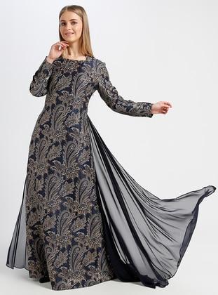 Navy Blue - Multi - Fully Lined - Sweatheart Neckline - Muslim Evening Dress