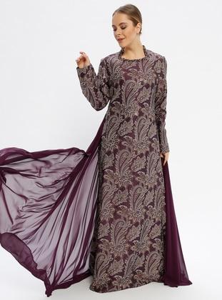 Purple - Multi - Fully Lined - Sweatheart Neckline - Muslim Evening Dress
