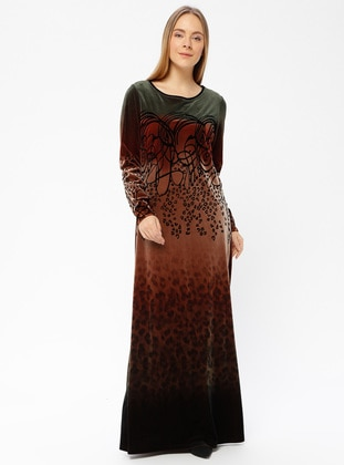 Olive Green - Multi - Unlined - Crew neck - Muslim Evening Dress