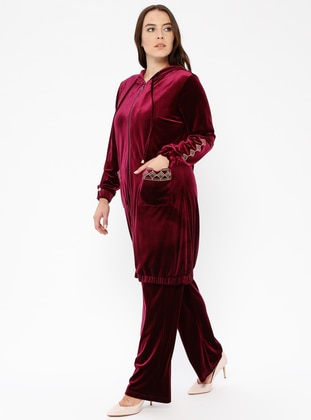 Maroon - Unlined - Plus Size Suit