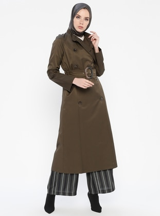 Khaki - Fully Lined - Button Collar - Coat