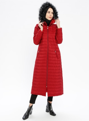 Red - Fully Lined - Polo neck - Puffer Jackets - ECESUN