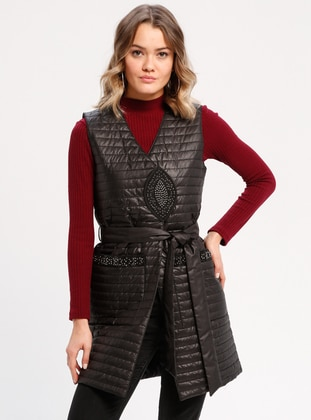 Black - Fully Lined - V neck Collar - Vest