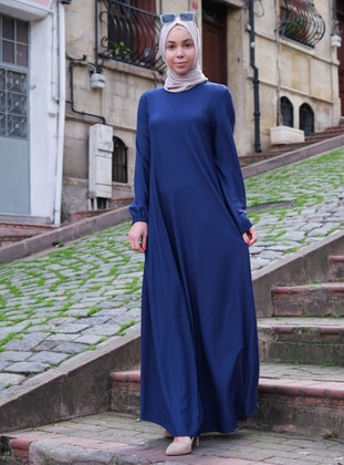 Blue - Navy Blue - Indigo - Crew neck - Unlined - Dresses