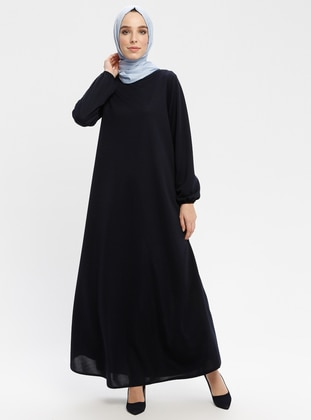 Navy Blue - Crew neck - Unlined - Dresses - ECESUN