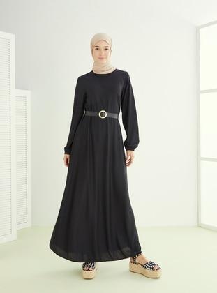 Black - Crew neck - Unlined - Dresses - ECESUN