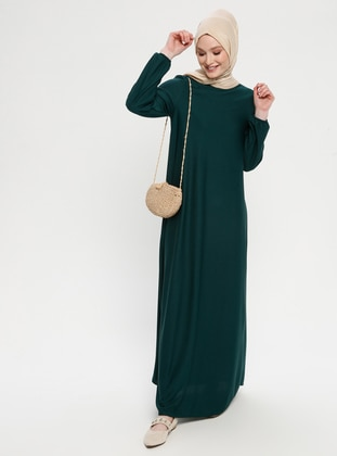 Green - Emerald - Crew neck - Unlined - Dresses