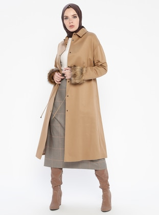 Camel - Fully Lined - Point Collar - Cotton - Topcoat