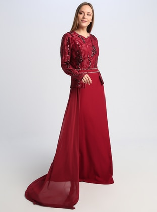 Maroon - Fully Lined - V neck Collar - Muslim Evening Dress