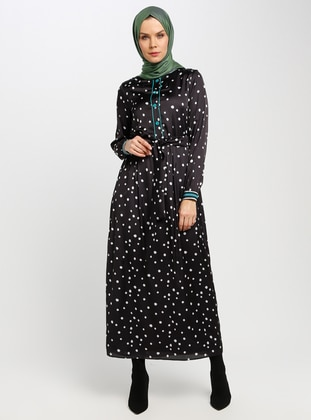 Black - Polka Dot - Crew neck - Fully Lined - Dresses