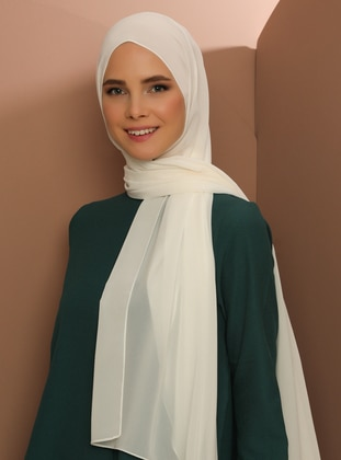 Cream - Plain - Chiffon - Shawl - Şal