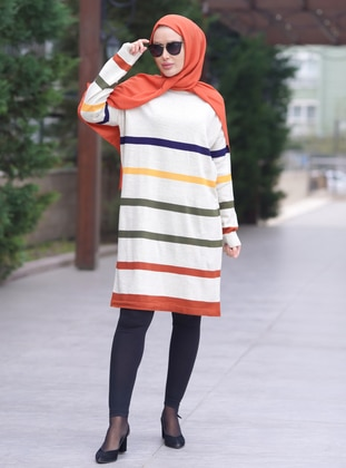 Multi - Stripe - Crew neck - Acrylic - Tunic
