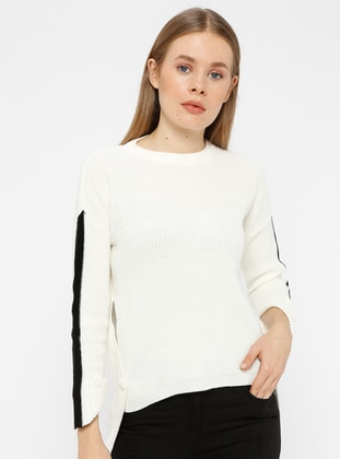 Black - White - Crew neck - Acrylic -  - Knitwear - REPP