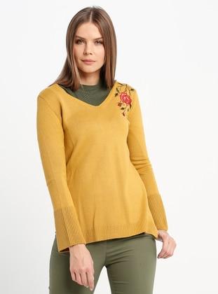Mustard - V neck Collar - Acrylic -  - Jumper