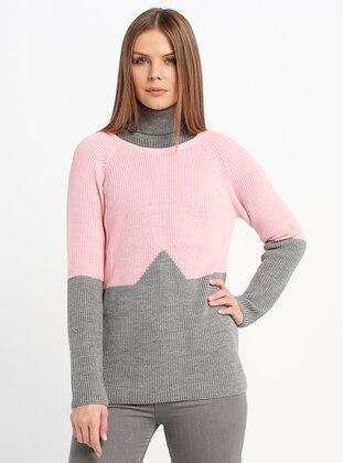 Pink - Gray - Crew neck - Acrylic -  - Jumper