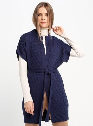 Navy Blue - Unlined - Crew neck - Acrylic -  - Vest