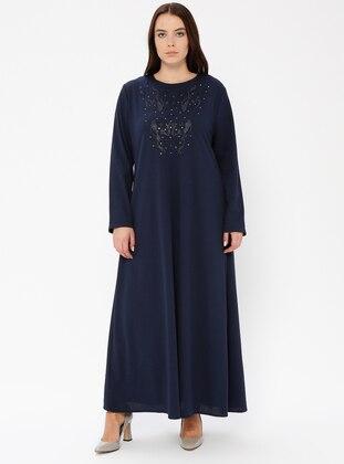 3efae32d8 أزرق داكن - نسيج غير مبطن - قبة مدورة - فستان مقاس كبير