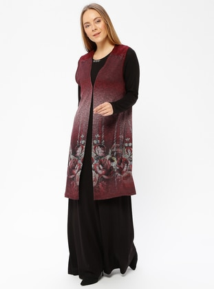 Black - Maroon - Multi - Unlined - Crew neck - Muslim Evening Dress