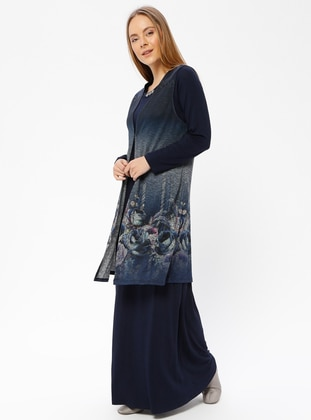 Navy Blue - Multi - Unlined - Crew neck - Muslim Evening Dress