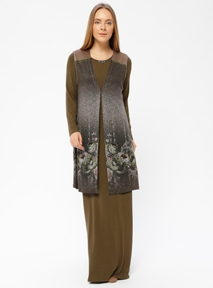 Green - Multi - Unlined - Crew neck - Muslim Evening Dress